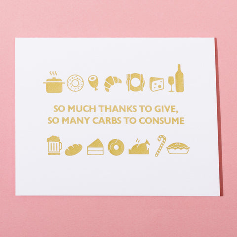 So Many Carbs Card by Farewell Paperie