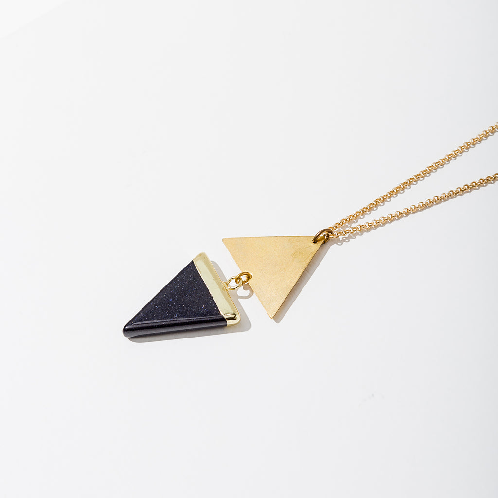 Larissa Loden Jewelry, Handmade in MN. Echo Necklace, Gold accented gemstone triangle paired with a brass triangle hangs from matte gold chain. Necklace 30 inches with clasp.