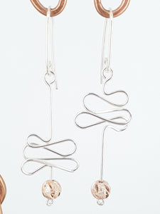 SSHME017 SS Wavy Earrings with Rose Gold