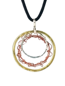 Brass, Copper & 925 Circles Necklace