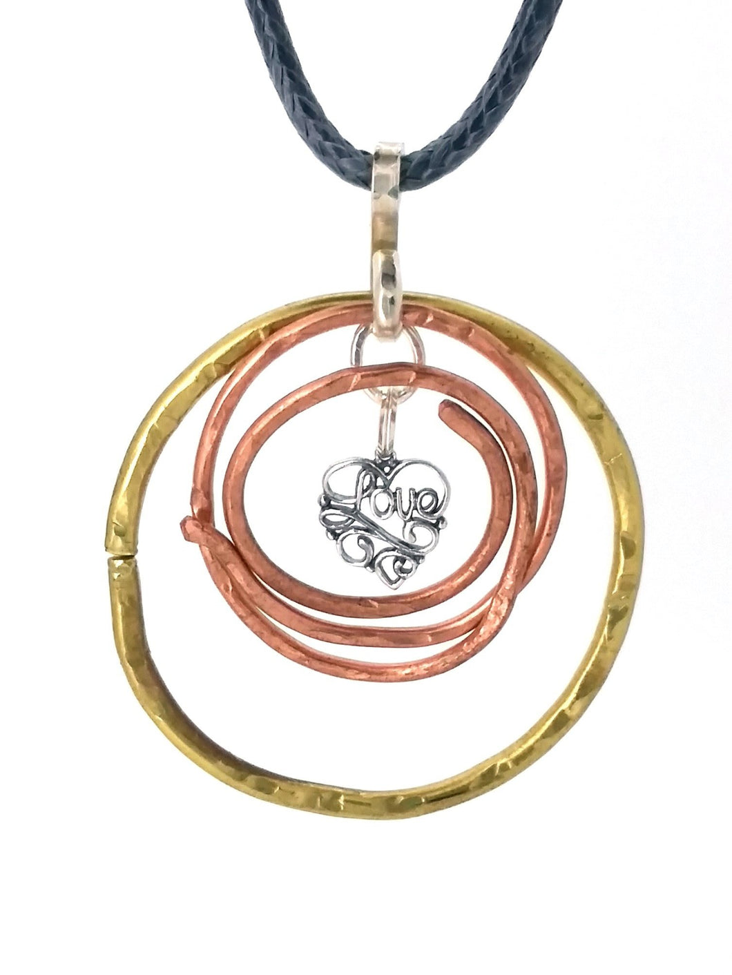 Brass, Copper & 925 Love Necklace
