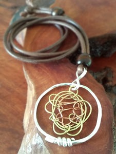 Brass, Copper and 925 Necklace
