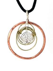 Brass, Copper & 925 Tree of Life Necklace