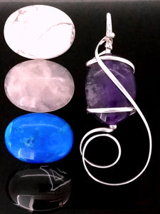G08Z01 with amethyst, howlite, rose quartz, bright blue howlite and black & white striped agate