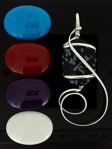 G08Z01 with snowflake obsidian and bright blue, red, purple and white mountain jade