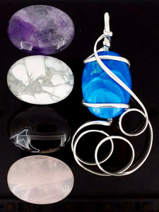G10Z01 Sterling Silver Pendant with 5 Interchangeable Gemstones