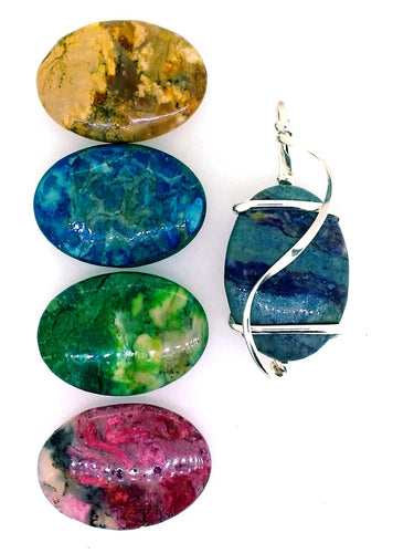 O06Z02 Sterling Silver Pendant with 5 Interchangeable African Opal Stones
