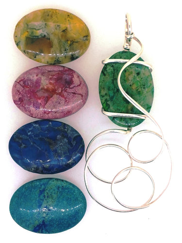 O12Z01 Sterling Silver Pendant with 5 Interchangeable African Opal Stones