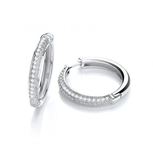 J Jaz Micro Half Pave' Hoop Earrings