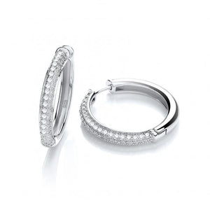 Micro Half Pave' Hoop Earrings