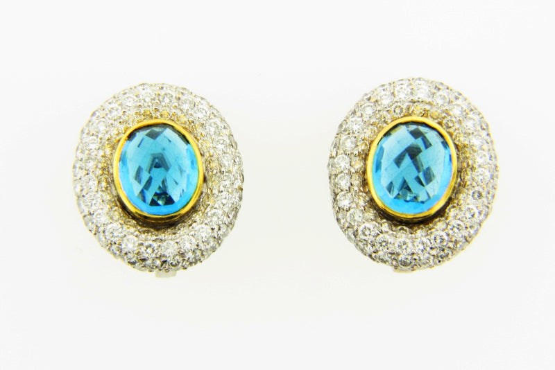 18K White Gold, Blue Topaz and Diamond Earrings | 18 Karat Appraisers | Beverly Hills, CA | Fine Jewelry