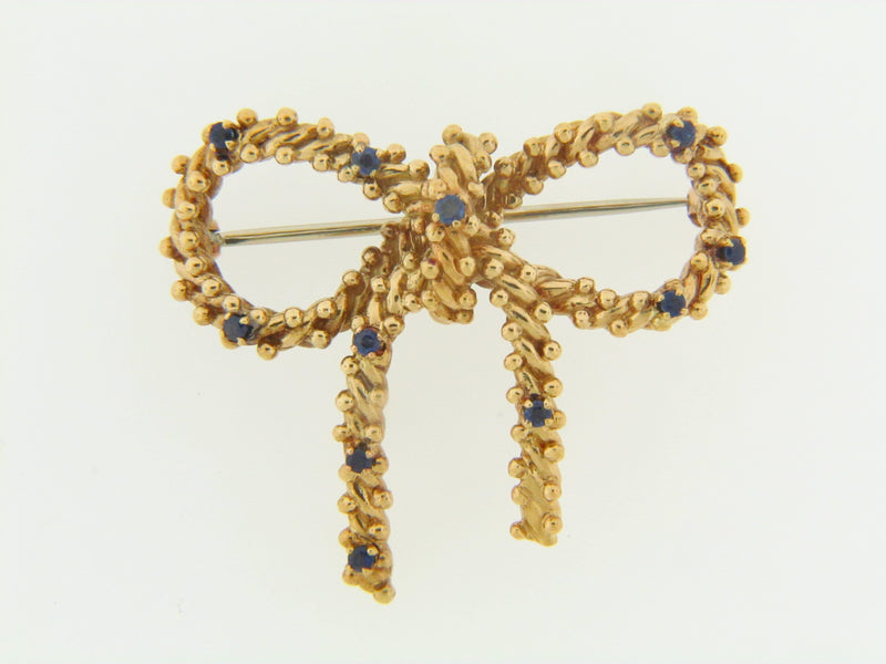 "18K-YG SAPPHIRE BOW BROOCH BY ""TIFFANY & CO."" 