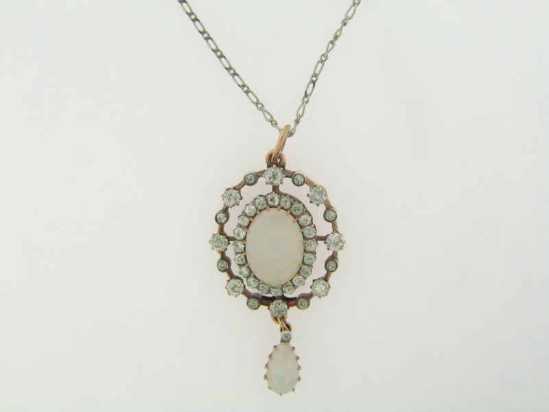 SILVER TOPPED, 14K YELLOW GOLD ANTIQUE OPAL AND DIAMOND PENDANT | 18 Karat Appraisers | Beverly Hills, CA | Fine Jewelry