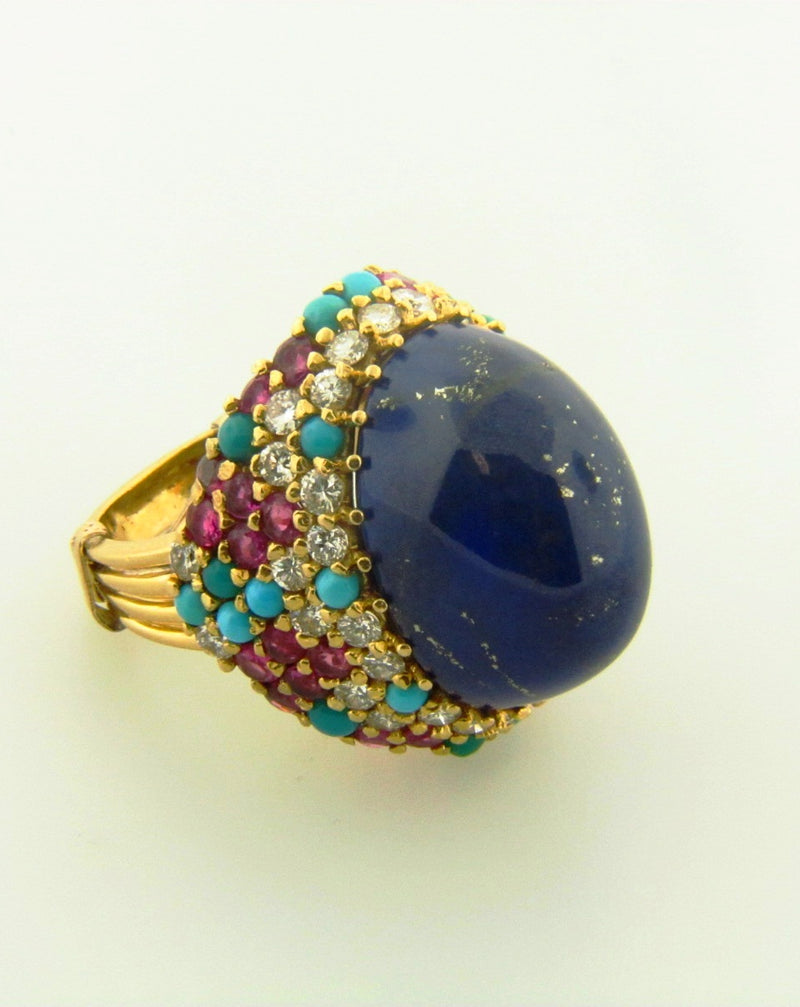 18K Yellow Gold, Lapis Lazuli, Diamond, Ruby, and Turquoise Ring | 18 Karat Appraisers | Beverly Hills, CA | Fine Jewelry