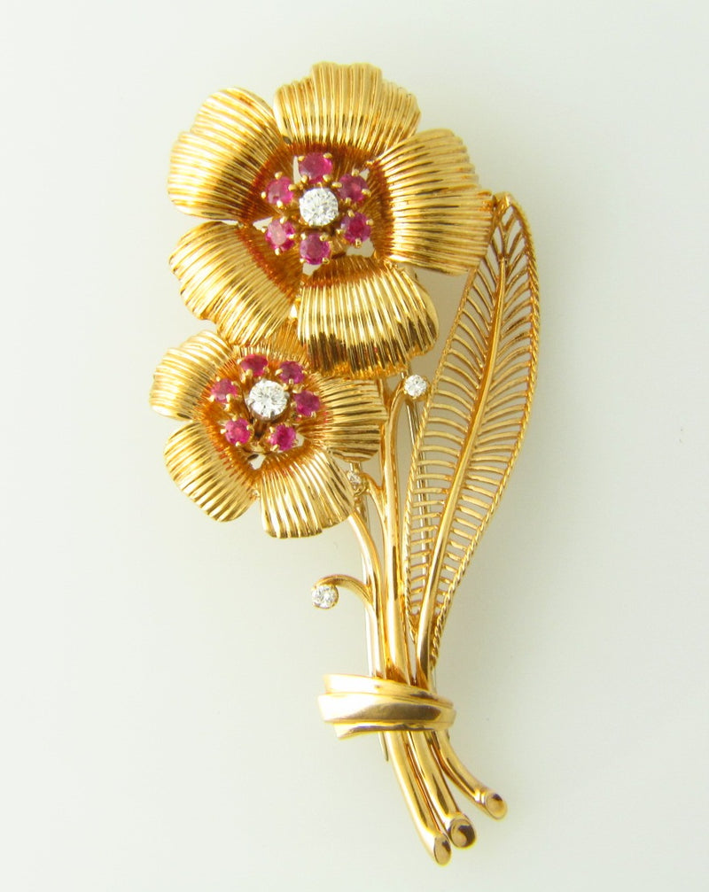 18K Rose Gold, Diamond and Ruby Flower Brooch | 18 Karat Appraisers | Beverly Hills, CA | Fine Jewelry