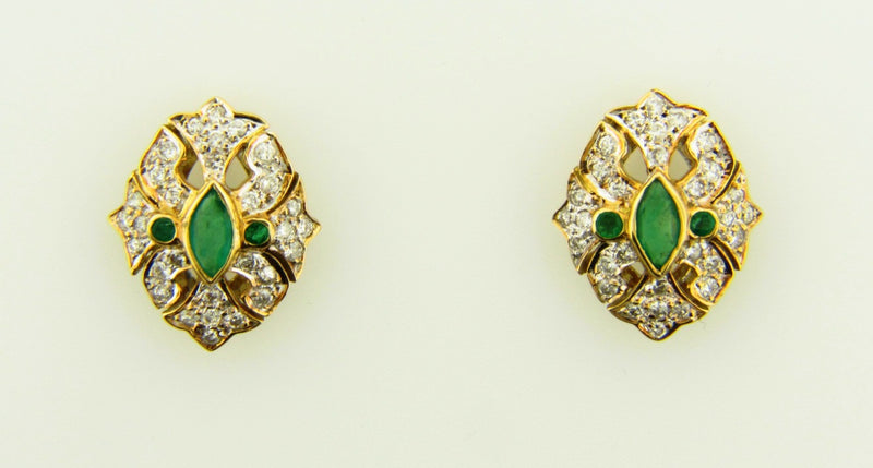 14K Yellow Gold, Emerald and Diamond Earrings | 18 Karat Appraisers | Beverly Hills, CA | Fine Jewelry