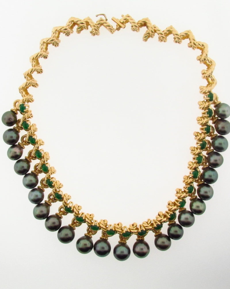 18K Yellow Gold Black Tahitian Pearl and Emerald Necklace | 18 Karat Appraisers | Beverly Hills, CA | Fine Jewelry