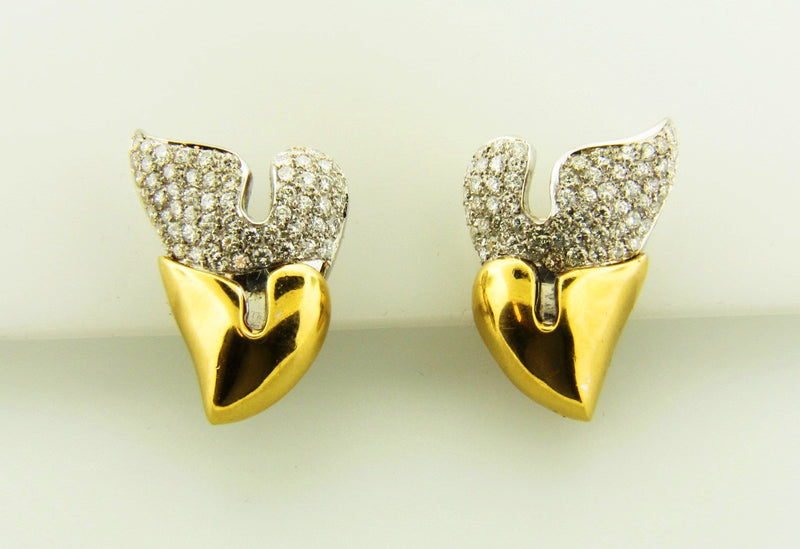 18K Yellow and White Gold, Diamond Earrings | 18 Karat Appraisers | Beverly Hills, CA | Fine Jewelry