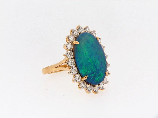 18K-YG AUSTRALIAN BLACK OPAL AND DIAMOND RING