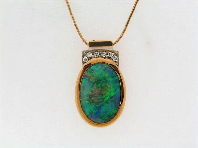 18K-YG GREY OPAL AND DIAMOND PENDANT