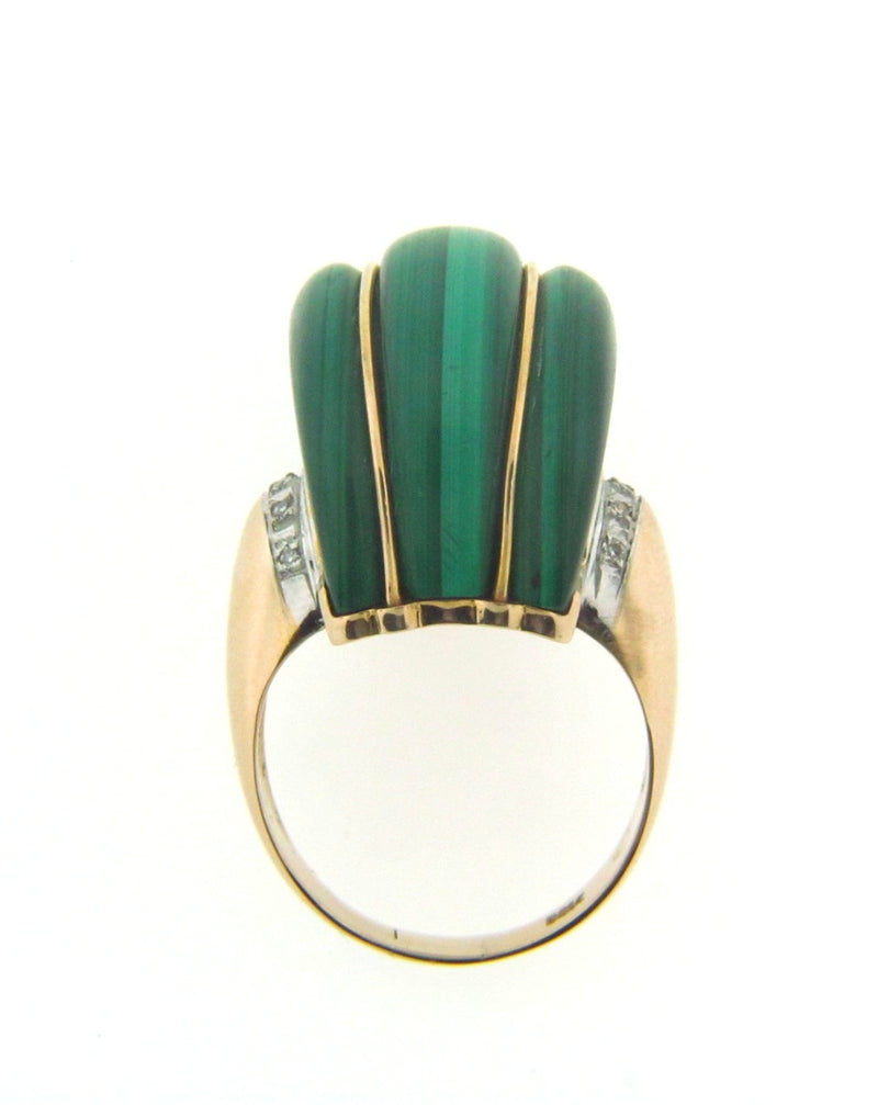14K Yellow Gold Malachite and Diamond Ring | 18 Karat Appraisers | Beverly Hills, CA | Fine Jewelry