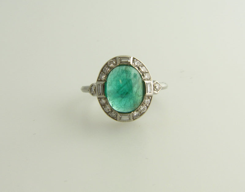 Art Deco, Platinum Emerald and Diamond Ring