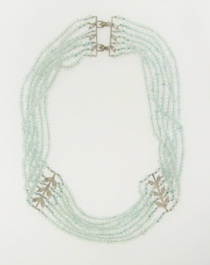 PLATINUM AQUA BEAD AND DIAMOND NECKLACE | 18 Karat Appraisers | Beverly Hills, CA | Fine Jewelry
