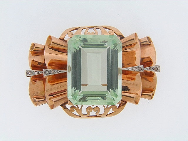14K-RG GREEN BERYL AND DIAMOND BROOCH | 18 Karat Appraisers | Beverly Hills, CA | Fine Jewelry