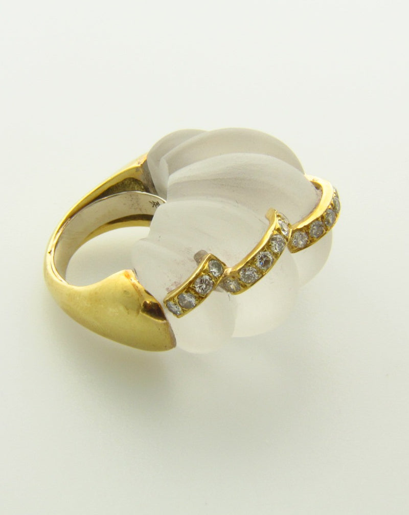 18K Yellow Gold, Rock Crystal Quartz and Diamond Ring | 18 Karat Appraisers | Beverly Hills, CA | Fine Jewelry