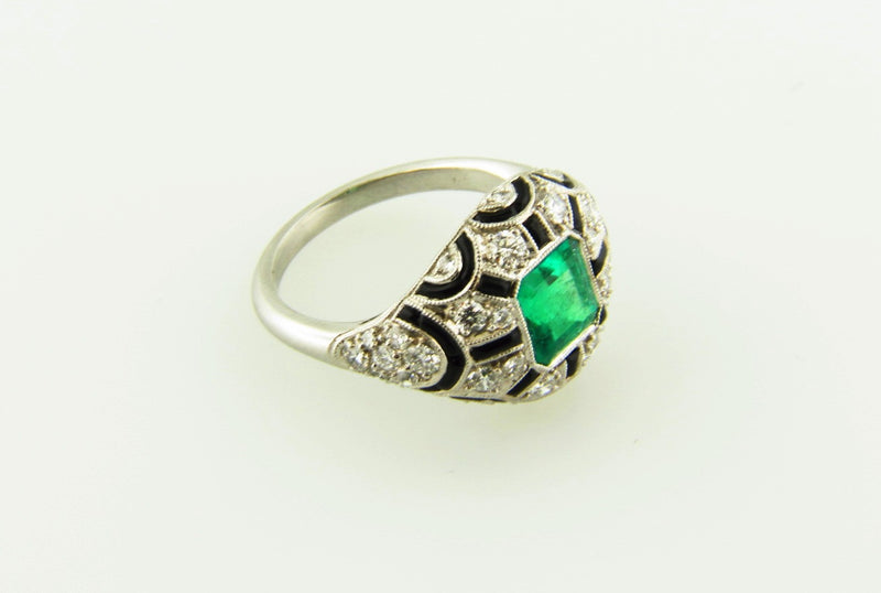 Art Deco, Platinum Emerald, Diamond, Onyx  Ring | 18 Karat Appraisers | Beverly Hills, CA | Fine Jewelry