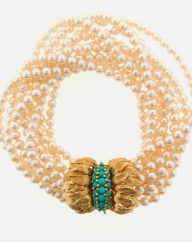 18K Yellow Gold and Multi-Strand Pearl Bracelet | 18 Karat Appraisers | Beverly Hills, CA | Fine Jewelry