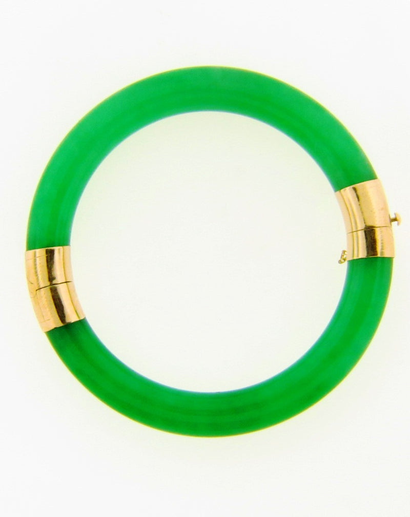 14K Yellow Gold  Hinged Green Bracelet | 18 Karat Appraisers | Beverly Hills, CA | Fine Jewelry