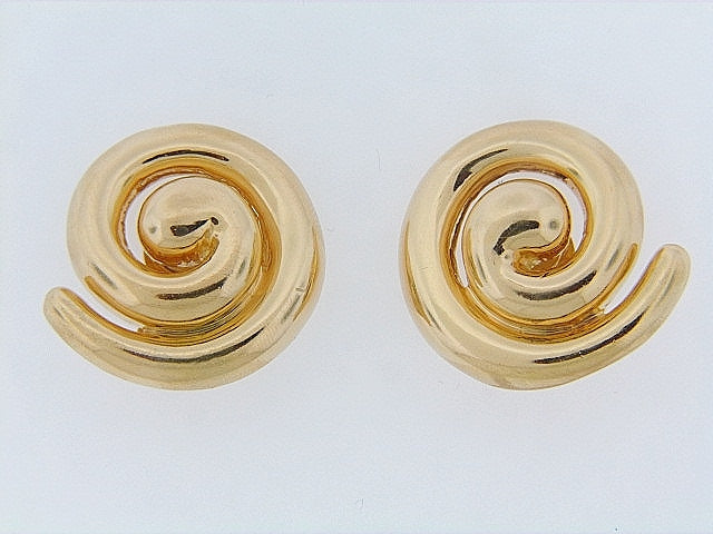 18K-YG SWIRL EARCLIPS BY