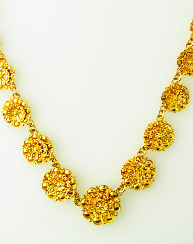 18K Yellow Gold Floral Motif Necklace | 18 Karat Appraisers | Beverly Hills, CA | Fine Jewelry