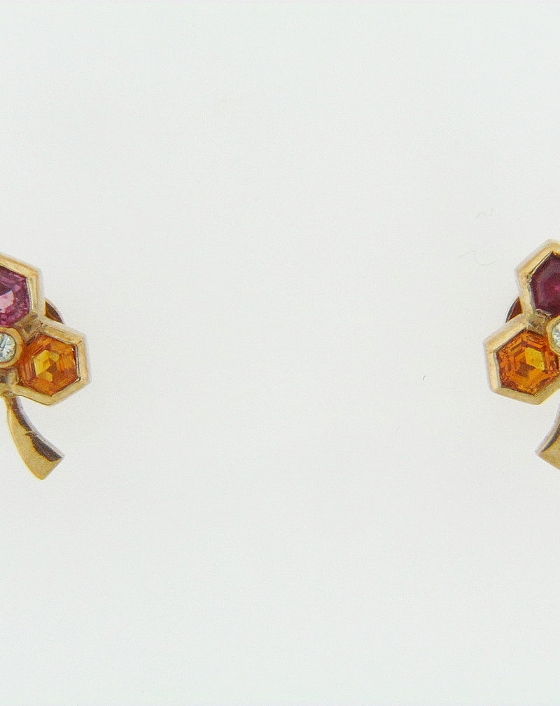 14K YELLOW GOLD MULTI-COLOR GEMSTONE AND DIAMOND EARRINGS | 18 Karat Appraisers | Beverly Hills, CA | Fine Jewelry