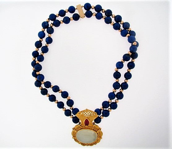 18K-YG MOONSTONE AND LAPIS LAZULI NECKLACE