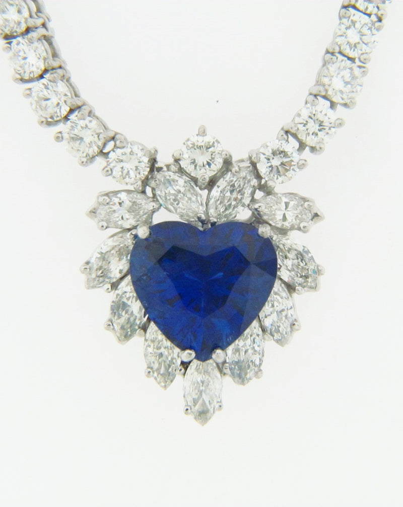 18K WHITE GOLD SAPPHIRE AND DIAMOND NECKLACE | 18 Karat Appraisers | Beverly Hills, CA | Fine Jewelry