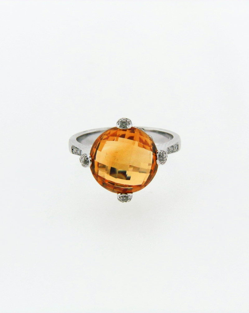 18K White Gold Citrine and Diamond Ring | 18 Karat Appraisers | Beverly Hills, CA | Fine Jewelry