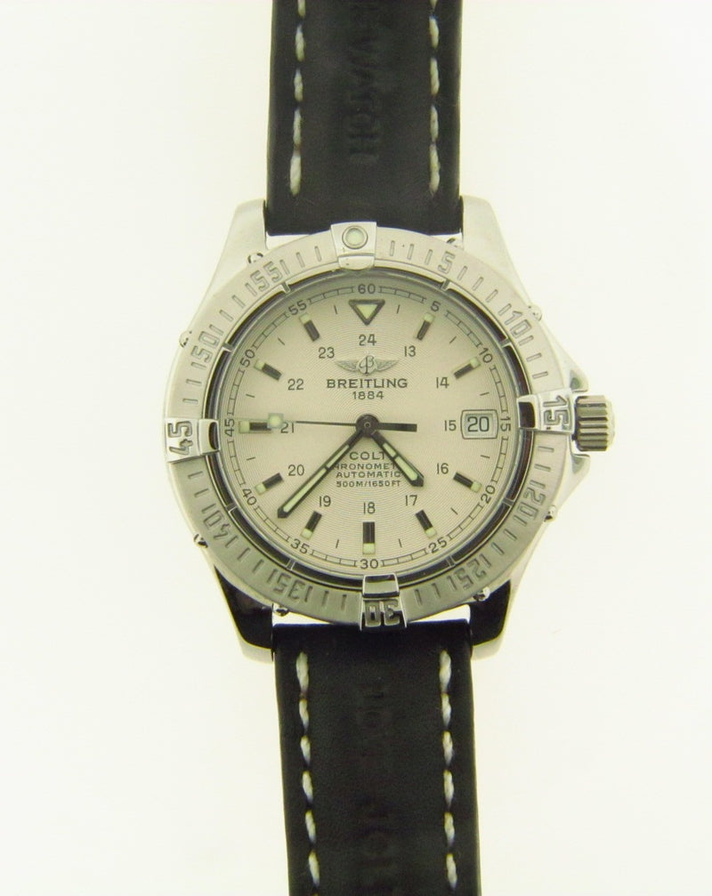 Stainless Steel and Leather Strap Wristwatch by Breitling | 18 Karat Appraisers | Beverly Hills, CA | Fine Jewelry