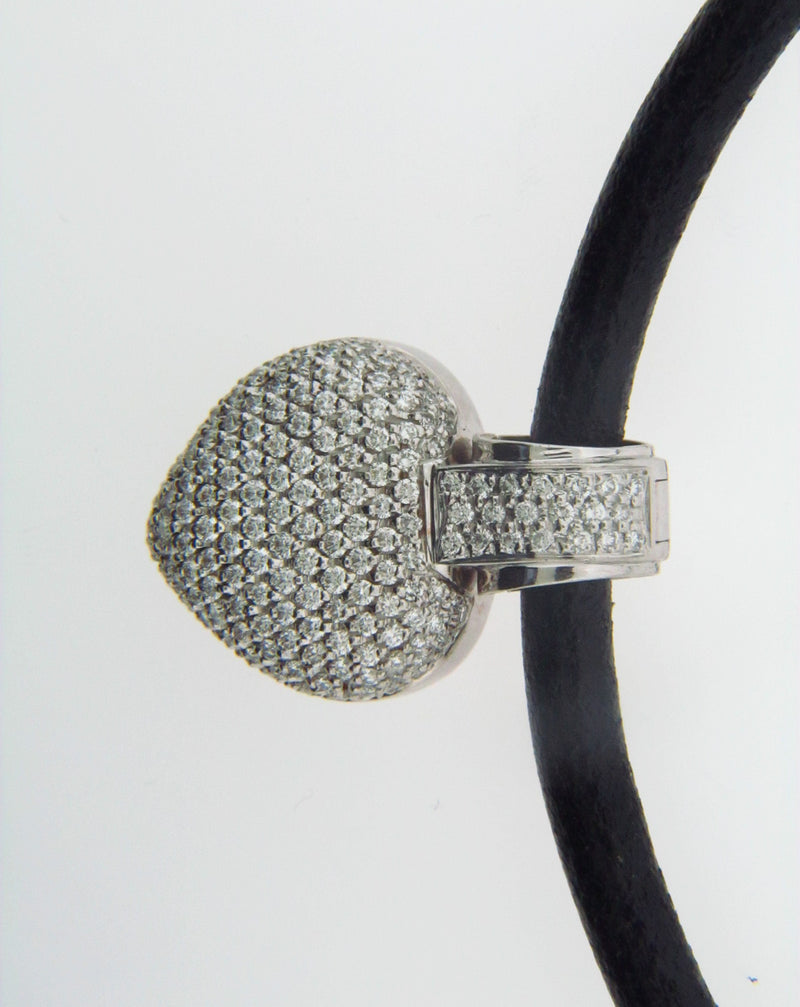 18K White Gold, Diamond Pave Heart Necklace | 18 Karat Appraisers | Beverly Hills, CA | Fine Jewelry