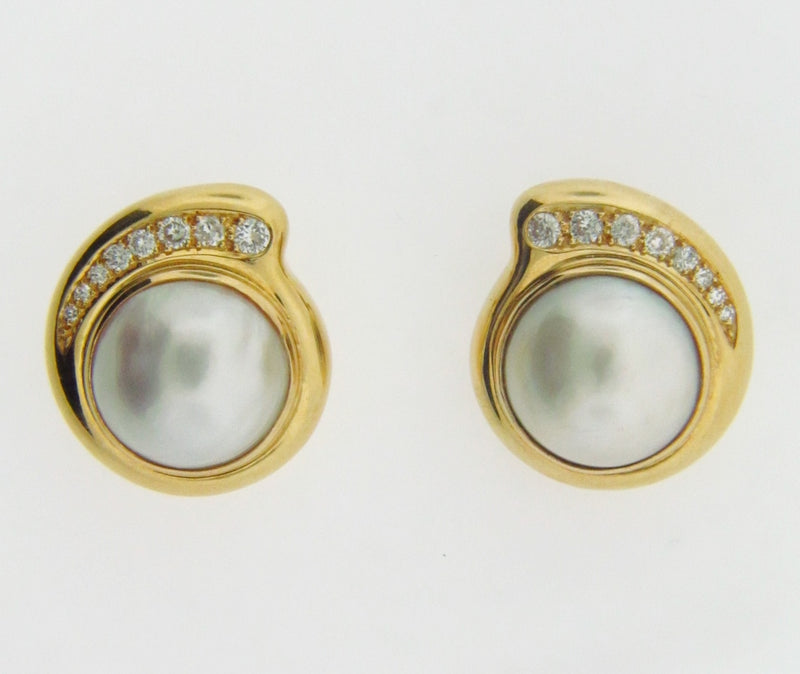 18K YELLOW GOLD MABE PEARL AND DIAMOND EARCLIPS | 18 Karat Appraisers | Beverly Hills, CA | Fine Jewelry