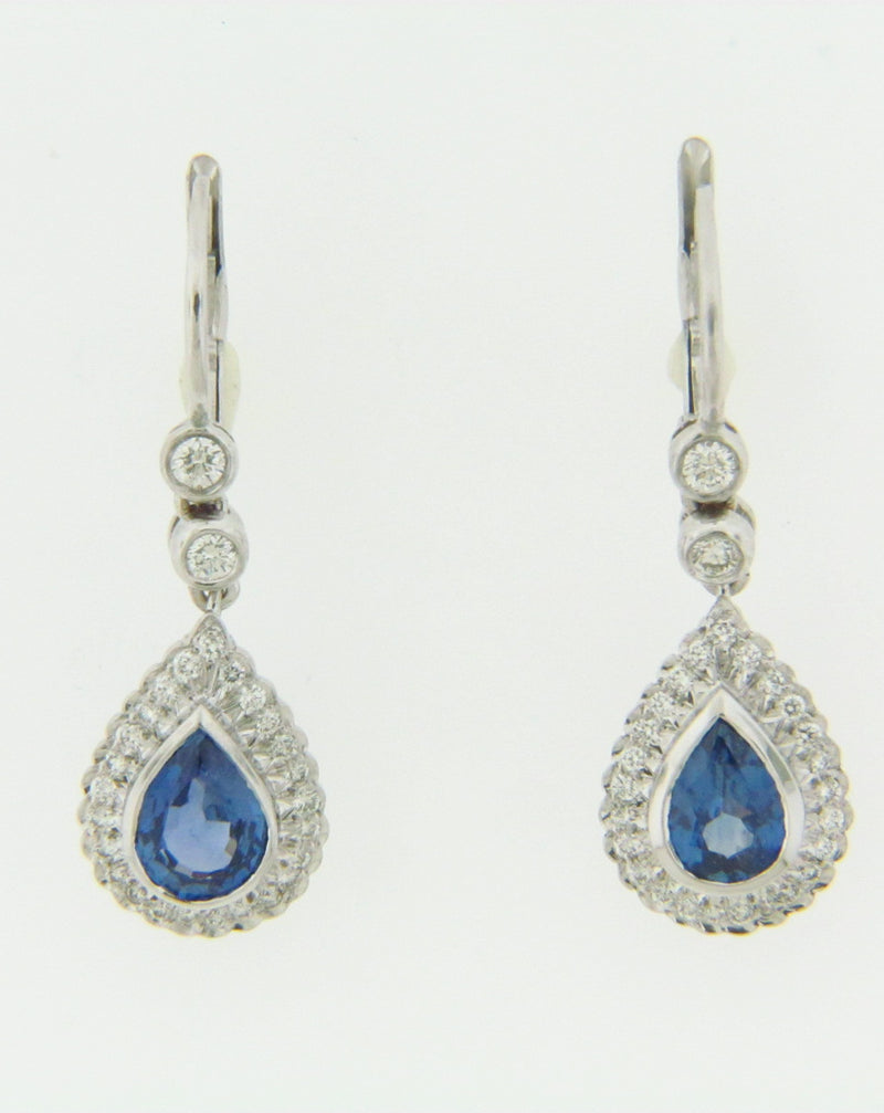 18K-WG SAPPHIRE AND DIAMOND DANGLE EARRINGS | 18 Karat Appraisers | Beverly Hills, CA | Fine Jewelry