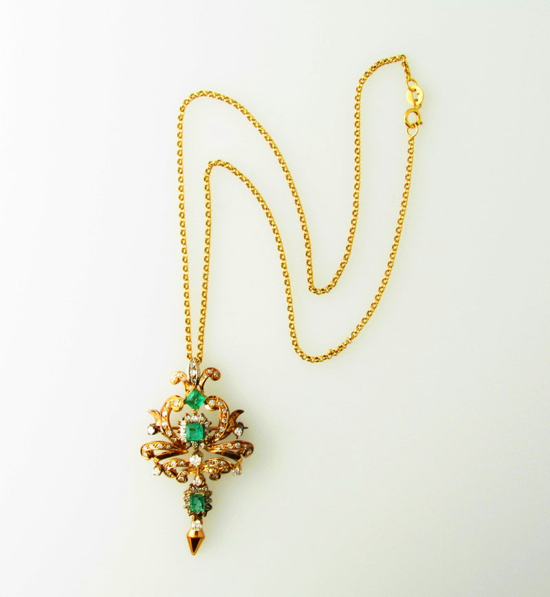 Victorian style 18K Yellow Gold, Emerald and Diamond Pendant / Brooch | 18 Karat Appraisers | Beverly Hills, CA | Fine Jewelry