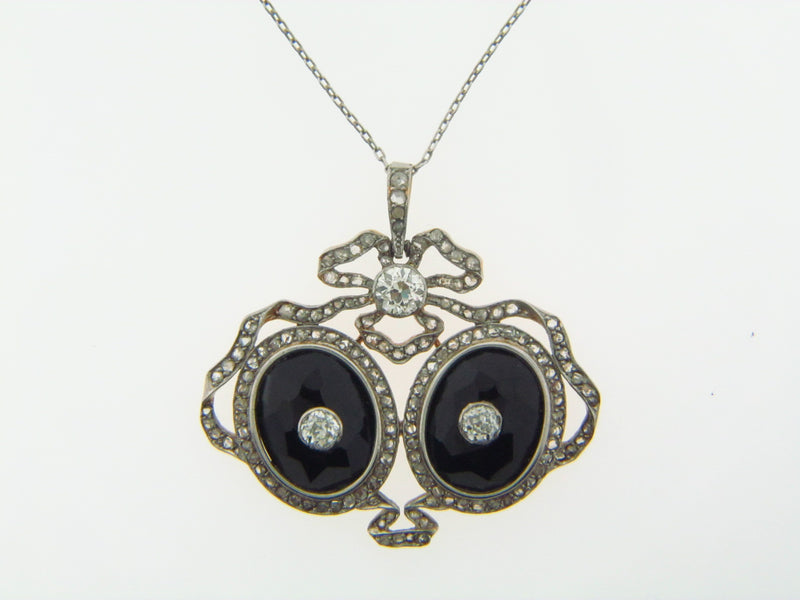 Platinum + 18K-YG Diamond and Onyx Pendant | 18 Karat Appraisers | Beverly Hills, CA | Fine Jewelry