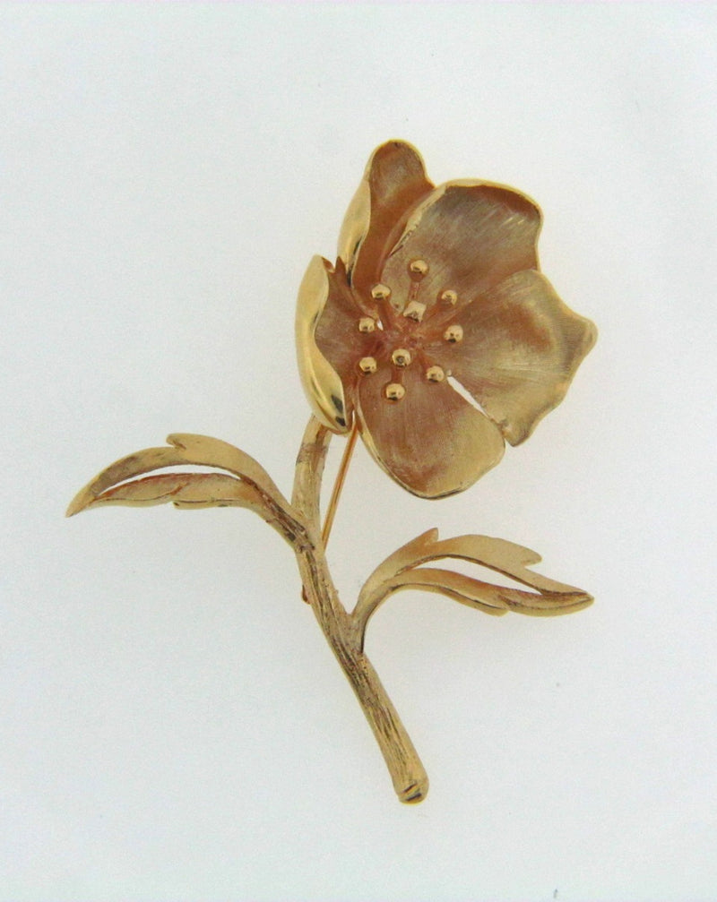 14K Yellow Gold Flower Brooch | 18 Karat Appraisers | Beverly Hills, CA | Fine Jewelry