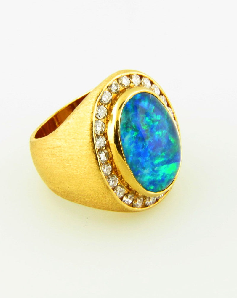 18K Yellow Gold, Opal and Diamond Ring | 18 Karat Appraisers | Beverly Hills, CA | Fine Jewelry