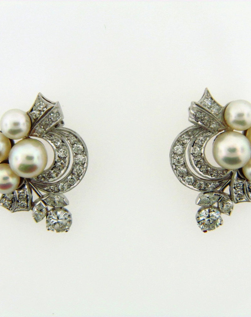 Platinum White Cultured Pearl and Diamond Earclips | 18 Karat Appraisers | Beverly Hills, CA | Fine Jewelry