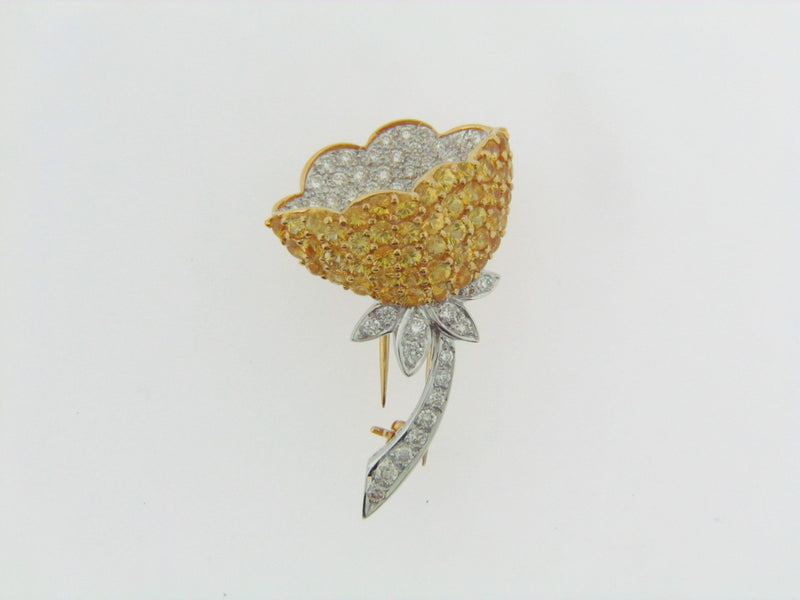 18K GOLD DIAMOND AND YELLOW SAPPHIRE FLOWER BROOCH | 18 Karat Appraisers | Beverly Hills, CA | Fine Jewelry