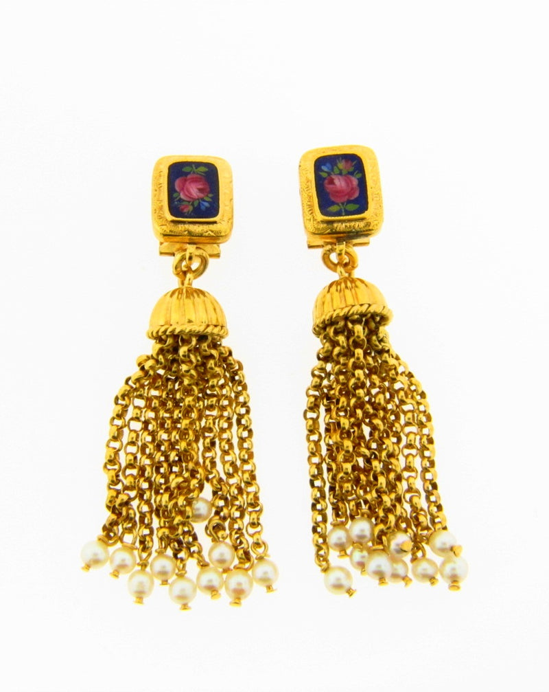 Victorian 18K Yellow Gold Pearl Tassle Earrings | 18 Karat Appraisers | Beverly Hills, CA | Fine Jewelry