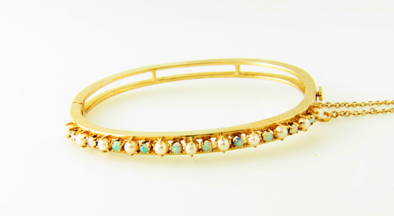 14K-YG Opal and Pearl Bangle Bracelet